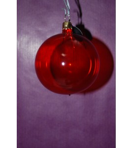 Set de 3 boules rouges transparentes
